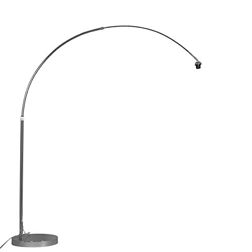 QAZQA Art Deco / Modern / Retro / Bogenleuchte / Bogenlampe / Lampe / Leuchte Chrom ohne Schirm Metall Rund LED geeignet E27 Max. 1 x 60 Watt