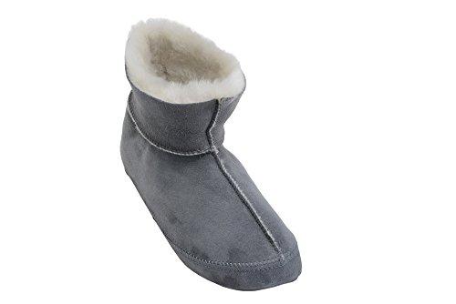 Herren/ Damen Natur Schafsleder Pantoffel Mit Pelz Und Verstellbare Manschette Grau / Weiß