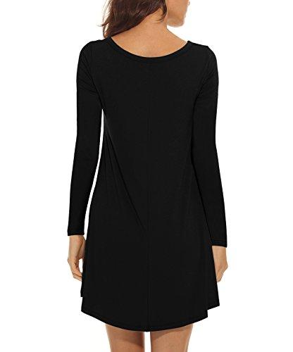 VIISHOW Damen Langarm Taschen Casual Lose T-Shirt Kleid Schwarz
