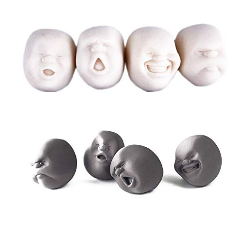 Anti-stress-gesicht (JingYuan Humorous Gesicht Form Squishy Ball Super Kautschuk Anti-Stress Ball Anti-Stress Ball für Kinder und Erwachsene, Stress Squishy Spielzeug, zufällige Farbauswahl)
