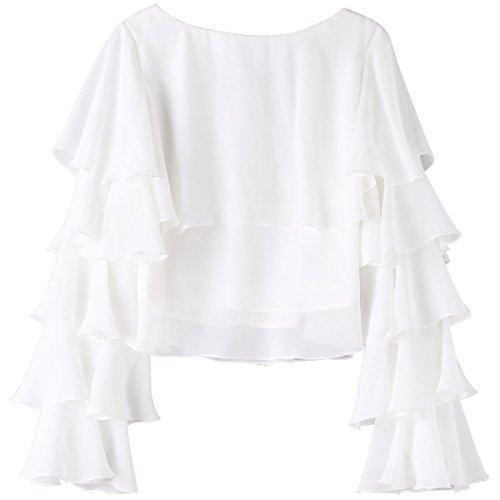 ZXCB Femmes Printemps à Manches Longues Mode Lâche Chemise Blouse Élégante en Mousseline de Soie Blanche Respirante white