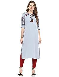 Janasya Women's Grey Crepe Plain Straight Kurta