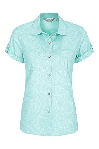 Mountain Warehouse Coconut Damenhemd - Damenoberteil aus 100% Baumwolle Für den Sommer, kurzärmlige Bluse, atmungsaktiv, leicht, pflegeleicht Minze DE 50 (EU 52) - Safari-grün-erwachsenen-shirt