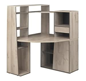 Gami K08162 Mambo Bureau d'Angle avec Sur meuble Panneaux de Particules Chêne 110 x 114 x 74 cm