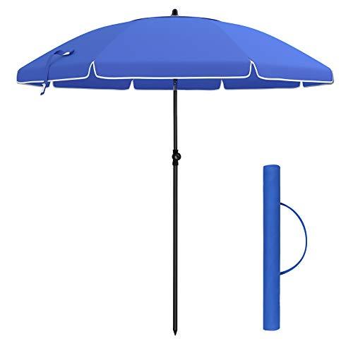 SONGMICS Parasol, Droit, Octogonal, Inclinable, avec manivelle, Diamètre en Arc 2 m, Toile Polyester, Extérieur, Terrasse, Jardin, Balcon, Plage, Piscine, Bleu GPU65BU (sans Socle)