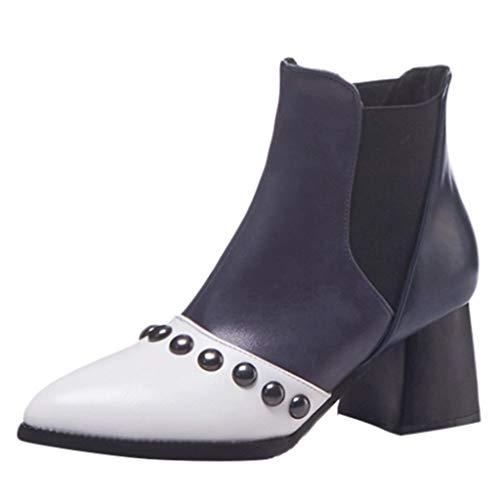 Scarpa col tacco donna retro casual corrispondenza dei colori scarpe con cinturino con fibbia elastico con tacco stivali in pelle scamosciata stivali qinsling