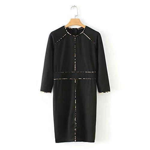 SYDGJLYQ Frauen schwarz Kleid Patchwork Animal Print DREI Viertel Tunika o Hals Büro Damen knielangen Kleid -