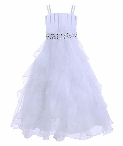 YiZYiF Festliches Mädchen Kleid Pinzessin Kostüm Lange Brautjungfern Kleider Hochzeit Party Festzug -- Geschenke für das neue Jahr 2017 Gr. 104-164 Weiß (Jahre Kostüm Party Neue)