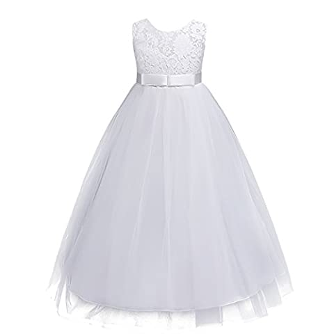 Kids Girls Lace Tulle Wedding Bridesmaid Communion Party Bowknot Dress Formal Pageant Birthday Prom Dance Ball Gown Maxi Flower Dress