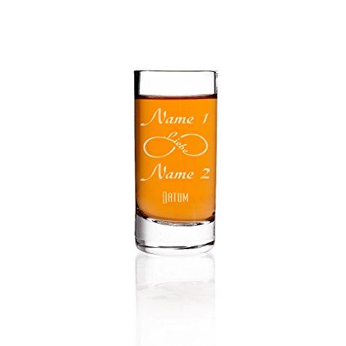 enk Schnapsglas zur Hochzeit mit Gravur der Namen und Datum - endless Love (Hochzeit Schnapsgläser)