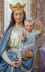 De lovaina - tamaño de la Estatua de la virgen y en Peters Gothic Cathedral (57963484), lona, 60 x 100 cm