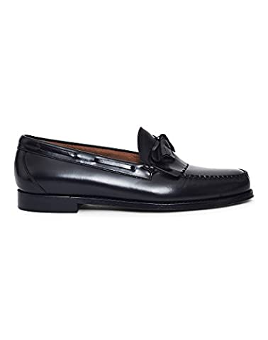 Mens G.H Bass Weejuns Layton Moc Kiltie Loafer Work Office Leather Shoes - Black - 10