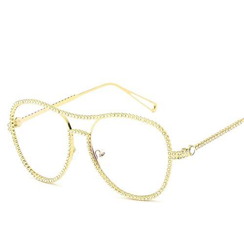 Kjwsbb Blink Diamond Oval Plain Glasses Large Frame Elegance Lady Mirror Plain Glasses Strahlenschutzbrille