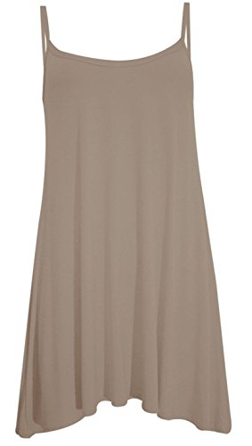 Damen Maxikleid, ärmellos Cami Strappy Lang Swing Vest Top Mini Kleid Plus Größe Mokka