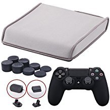 9CDeer Soft Neoprene Dirt Dust Protective Cover Grey for PS4 Slim Horizontal Version + 1 Piece Controller Silicone Cover Skin Black + 2 Pieces Controller Dust Proof Plugs + 8 Pieces Thumb Grips by 9CDeer