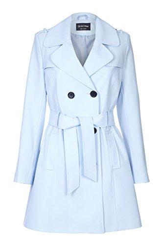 De La Creme - Damen Bindegürtel Trenchcoat, Hellblau Größe 50