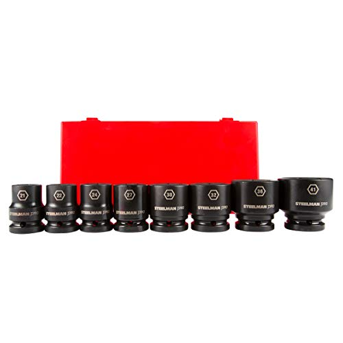 STEELMAN PRO 79246 8-Piece 3/4-Inch Drive 6-Point Impact Socket Set, Metric, includes 21, 22, 24, 27, 30, 32, 36, and 41mm Sockets -