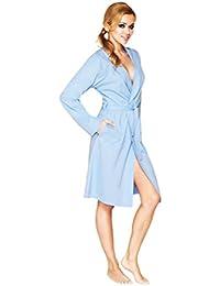 Damen Luxus Leichtgewichts Baumwolle Bademantel, Kurze Knielange