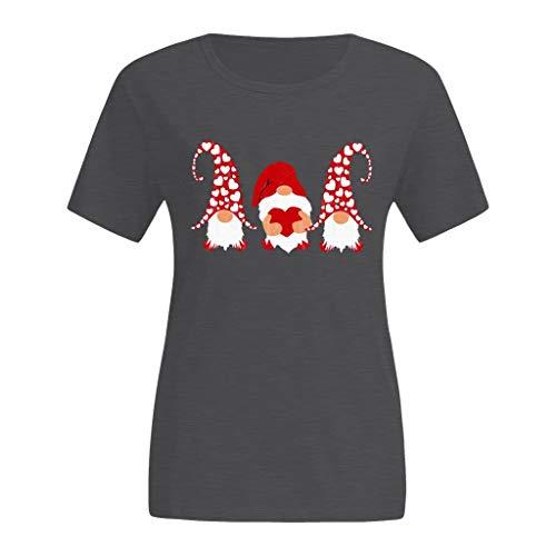 serliyDamen Valentine Bluse Kurzarm Tops Sommer Bluse T-Shirt Tee Rundhals Blusen Slim fit Casual Oberteil Lose Baseball Shirt Freizeit Sweatshirt Tops