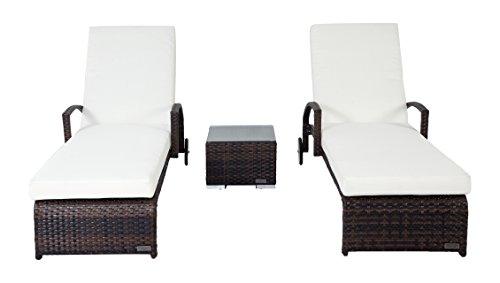 OUTFLEXX stilvolle 2er-Set Sonnenliegen aus widerstandsfähigem Polyrattan, braun marmoriert, je 200x70x30cm, Roll-Liegen mit Beistelltisch 45 x 45 x 30 cm mit Glastischplatte, Rückenlehne verstellbar