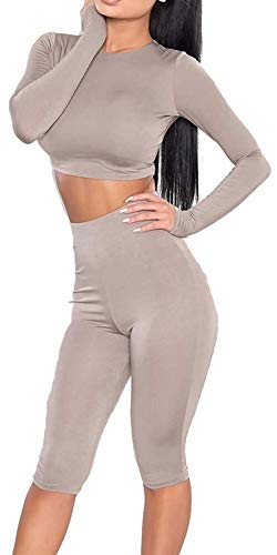 IWEAGER Damen-Trainingsanzug, figurbetont, 2-teilig, Stretch, hohe Taille, Leggings, Crop Top Outfit, Damen, Khaki, Large -