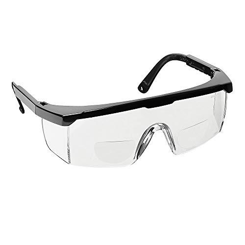 voltX 'Classic' farblose Bifokalschutzbrille (+1,5 Dioptrie) mit Sicherheitskordel CE EN166F zertifiziert