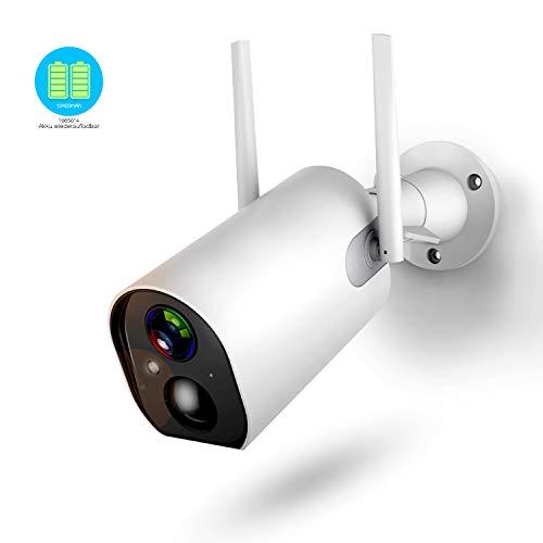 Überwachungskamera Aussen mit Akku, 1080P Outdoor WLAN Kamera mit 10400mAh Batterie, 4DB Wireless Antenna, Nachtsicht Modus, Zwei Wege Audio, IP66 Wasserdicht