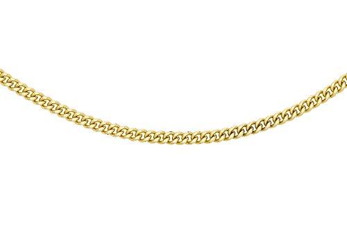Carissima Gold Damen 0.8 mm Diamantschliff Curb Halskette 18k (750)Gelbgold 46cm/18 zoll