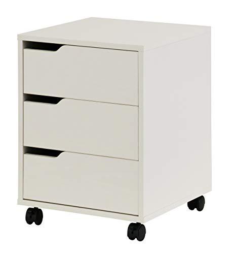 hjh OFFICE 674340 Rollcontainer Organiser Weiß Büro Beistellschrank mit Schubladen und Rollen - Weiß Schreibtisch Schrank