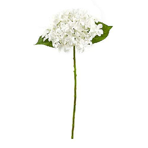 Fleur de Hortensia Artificielle, Branche de Hortensia, Fleur Artificielle, Fausse Fleur Maison Decor - Hauteur 40 cm - Blanc - Plastique/Soie