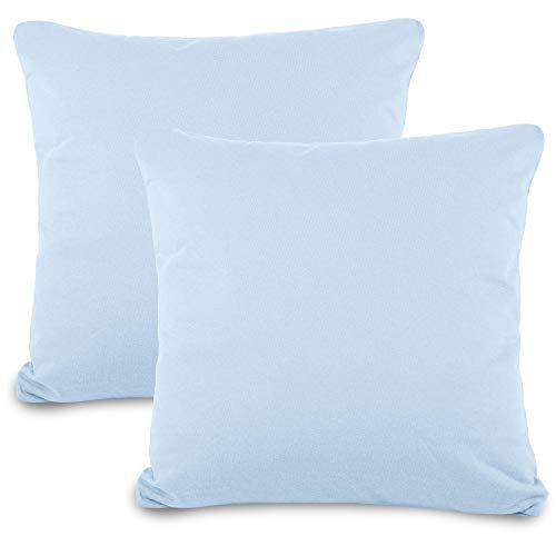 aqua-textil Classic Line Kissenbezug 80 x 80 cm Aqua blau Baumwolle Kissen Bezug Reißverschluss Jersey Kissenhülle
