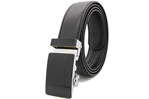 Echt LEDER Gürtel mit Automatikschnalle Herren Damen Hochwertig UniSex Gürtel 3,5cm Breit (115cm, Schwarz) (Damen Echte Jeans)