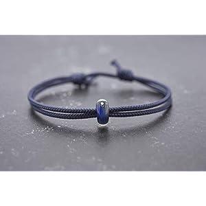 Armband Borosilikat Glasperle Vegan Unisex Segeltau Freundschaftsarmband Partnerarmband marine blau