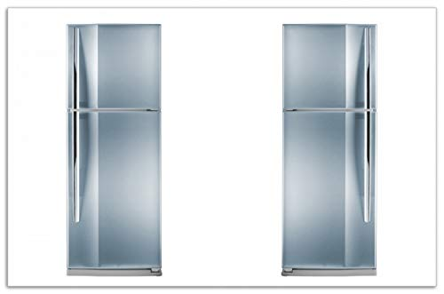 Wallario Herdabdeckplatte/Spritzschutz aus Glas, 1-teilig, 80x52cm, für Ceran- und Induktionsherde, Motiv Kühlschrank Edelstahl-Optik frontal bläulich-Silber glänzend