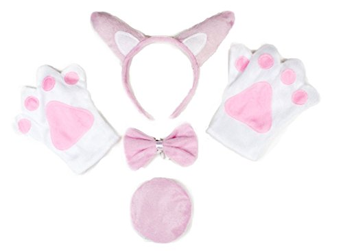 Pink Piglet Headband Bowtie Tail Glove 4pc Costume Kids Halloween School Party ()