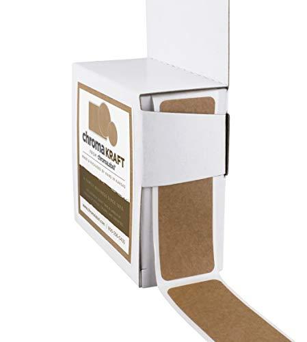 chromalabel Kraft Etiketten | 250/Spenderbox 1 x 3 inch Kraft Brown