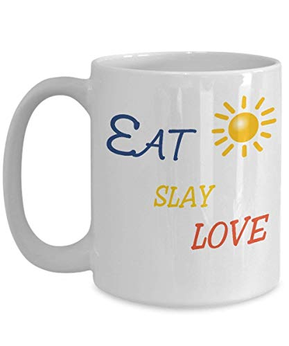 Fgrygf Tea Milk Cup, Novelty Coffee Mugs, Eat slay love rose gold quote mugs love, Tea Cup, Funny Merry Christmas, - Lip Color Tea Rose