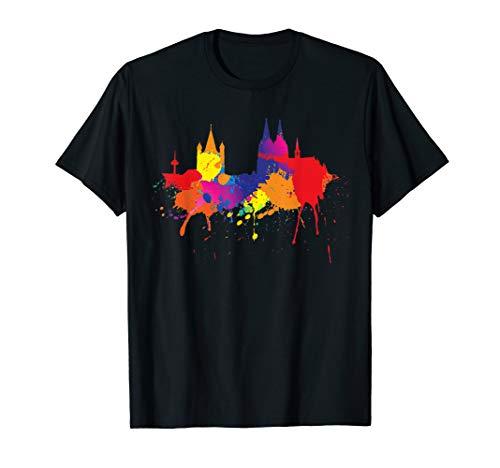 Karneval Kostüm Herren Köln - Kölner Skyline Köln T-Shirt Bunt Malerei