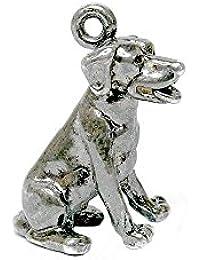 RETRO CHARMS: Vintage Finished Sterling Silver 925 Enamelled Pluto Dog Charm V297