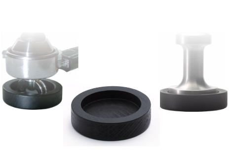 Andrückstation / Tamping Station aus schwarz lackierter Buche für alle Größen bis 60 mm - Barista Zubehör thumbnail