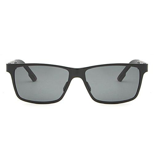 Yiph-Sunglass Sonnenbrillen Mode Polarisierte Sonnenbrille-Designer-Mann-Quadrat-Schutzbrillen-Eyewear-Zusatz-Frauen-Sonnenbrille der Aluminiumlegierungs-Männer (Color : Black+Gray)