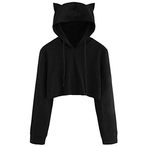 Frauen Katze Ohr Langarm Kurz Schwarz Sweatshirt Tops Bluse (Katze Ohr)