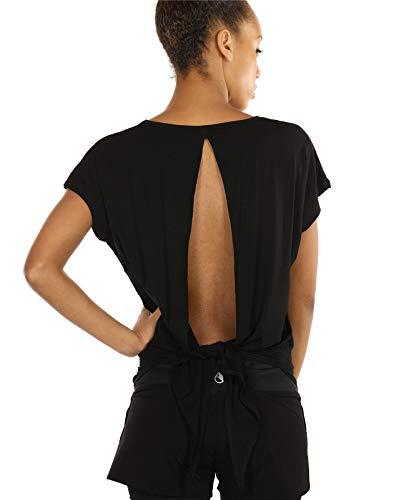 icyzone T-Shirts de Sport Femme Exercice Yoga Tops Dos Ouvert Shirts (L, Black)
