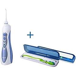 Panasonic EW 1211 W845 - Irrigador bucal para la limpieza de los espacios interdentales + Esterilizador de cepillos dentales, Tocare