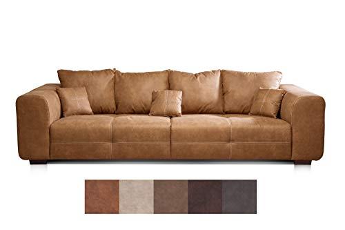 Cavadore Big Sofa Mavericco/Big Couch im Modernen Design in Lederoptik/Inklusive Rückenkissen und Zierkissen/287 x 69 x 108 cm (BxHxT)/Mikrofaser Anthrazit