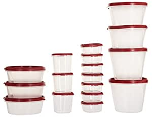 SimpArte Plastic Grocery Container, 17-Pieces, Blushing Red