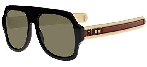 Gucci Unisex-Erwachsene GG0255S-001 Sonnenbrille, Schwarz (Negro/Rojo/Verde), 59.0