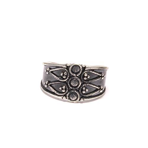 breiter Ornament verzierter Zehenring aus 925 Silber