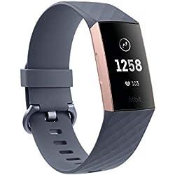 Fitbit - Charge 3 - Bracelet d'activité forme & sport : jusqu'à 7 jours d'autonomie et étanche - Aluminium Or Rose / Bleu Ardoise