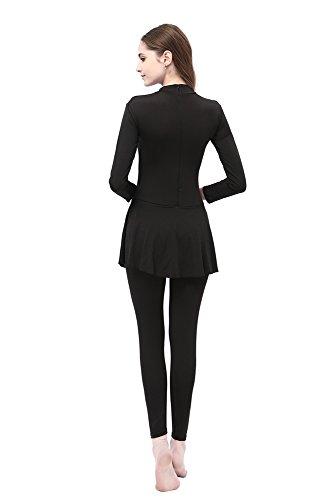 BOZEVON Damen Muslimischen Badeanzug Islamischen Full Cover Bescheidene Badebekleidung Swimwear Beachwear Burkini, Blau, EU 3XL=Tag 4XL - 3